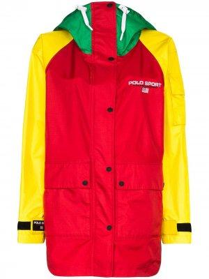 Куртка в стиле колор-блок с логотипом Polo Ralph Lauren. Цвет: красный