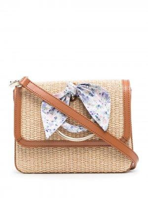 Плетеная сумка на плечо с узлом Ermanno. Цвет: нейтральные цвета
