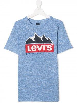 Levis Kids футболка с круглым вырезом и логотипом Levi's. Цвет: синий