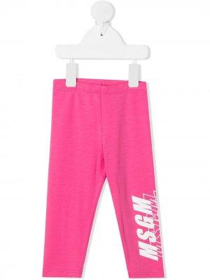 Легинсы с логотипом Msgm Kids. Цвет: розовый