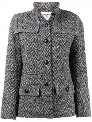 Пиджак pre-owned с узором в елочку и воротником-стойкой Chanel. Цвет: черный