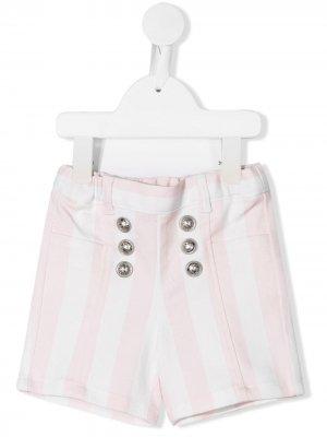 Полосатые шорты с декоративными пуговицами Balmain Kids. Цвет: розовый