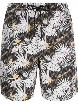 Плавки-шорты с абстрактным принтом Billionaire. Цвет: черный