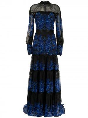 Ярусное платье Ecrin с принтом пейсли Tadashi Shoji. Цвет: черный