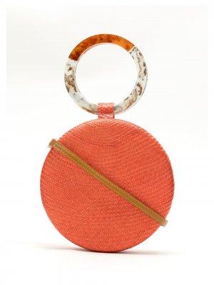 Соломенный клатч SERPUI. Цвет: оранжевый