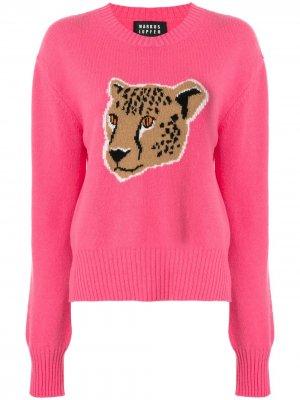 Джемпер Megan с леопардовым узором вязки интарсия Markus Lupfer. Цвет: розовый