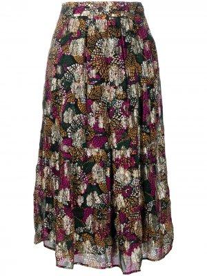 Юбка миди Lana с цветочным принтом Ba&Sh. Цвет: золотистый