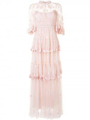 Ярусное платье Needle & Thread. Цвет: розовый
