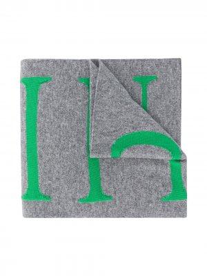 Шарф с вышитым логотипом Philipp Plein Junior. Цвет: серый