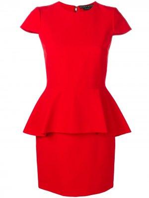 Приталенное платье с баской Alice+Olivia. Цвет: красный