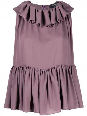 Блузка без рукавов с оборками Gianluca Capannolo. Цвет: фиолетовый