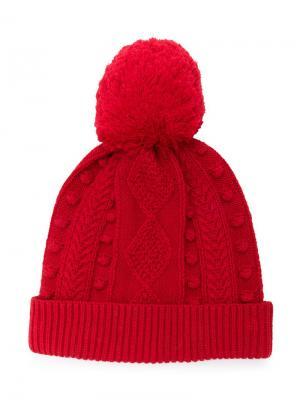 Вязаная шапка с узором косы Oscar De La Renta Kids. Цвет: красный