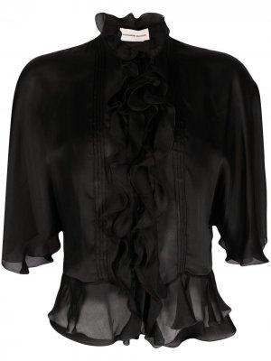 Блузка с короткими рукавами и оборками Alexandre Vauthier. Цвет: черный