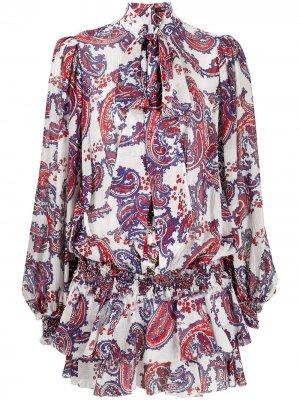 Короткое платье с оборками и узором пейсли Balmain. Цвет: белый