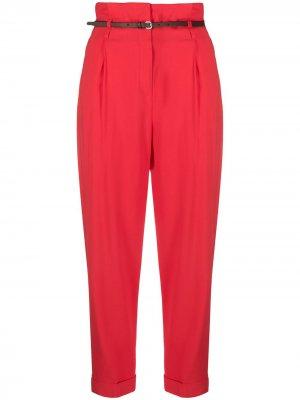Укороченные брюки с присборенной талией Peserico. Цвет: красный