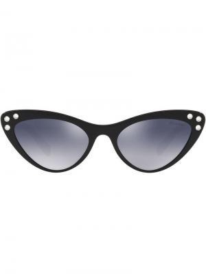 Солнцезащитные очки в оправе кошачий глаз с кристаллами Miu Eyewear. Цвет: 1ab3a0 черный