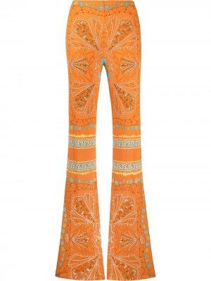 Брюки прямого кроя с абстрактным принтом Emilio Pucci. Цвет: оранжевый