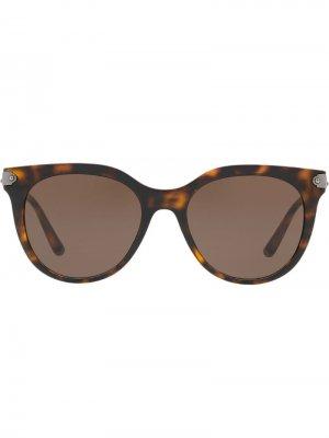 Солнцезащитные очки в округлой оправе с эффектом черепашьего панциря Dolce & Gabbana Eyewear. Цвет: коричневый