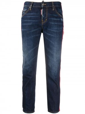 Укороченные джинсы с логотипом Dsquared2. Цвет: синий