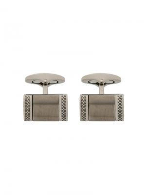 Engraved rectangular cufflinks Tateossian. Цвет: металлик
