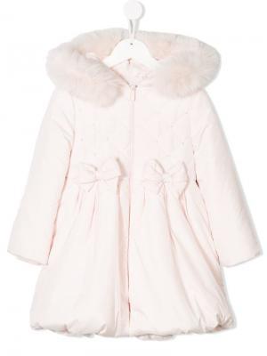Дутое пальто с капюшоном Bimbalo. Цвет: розовый