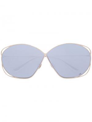 Массивные солнцезащитные очки Stellaire Dior Eyewear. Цвет: золотистый
