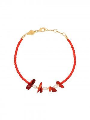 Золотой браслет Emmanuelle с жемчугом Anni Lu. Цвет: красный