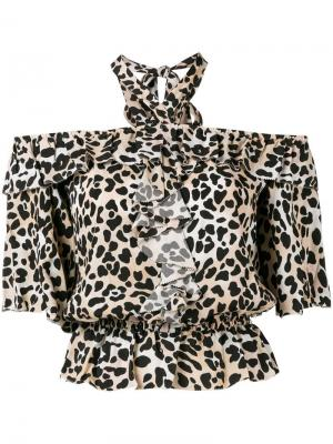 Leopard print blouse Temperley London. Цвет: коричневый