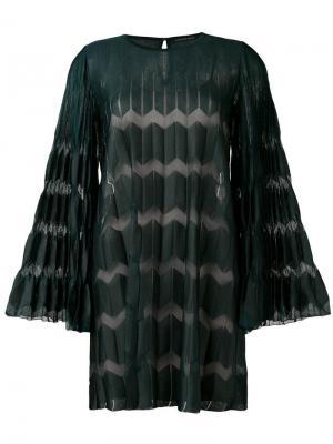Плиссированное платье шифт Antonino Valenti. Цвет: зеленый