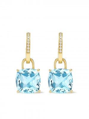 Золотые серьги-кольца с топазами и бриллиантами Kiki McDonough. Цвет: желтый