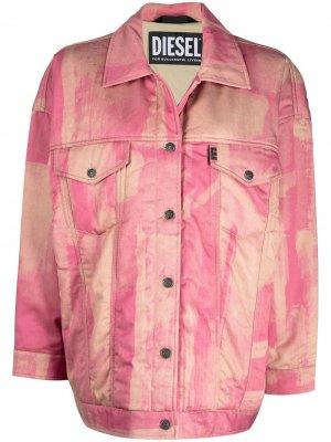 Куртка оверсайз с принтом тай-дай Diesel. Цвет: розовый