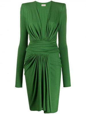 Платье со складками и V-образным вырезом Alexandre Vauthier. Цвет: зеленый
