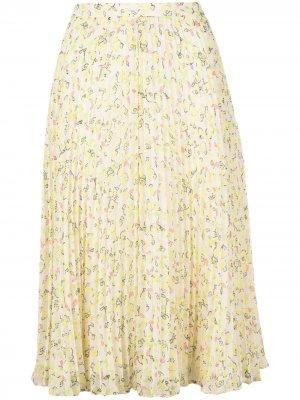 Плиссированная юбка с цветочным принтом Jason Wu. Цвет: желтый