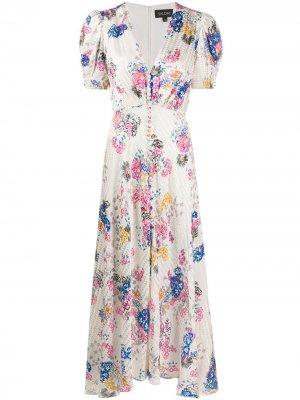 Расклешенное платье с цветочным принтом Saloni. Цвет: белый
