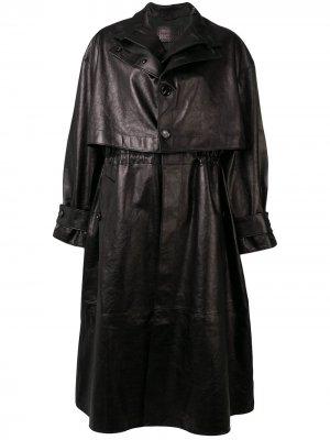 Однобортный тренч Bottega Veneta. Цвет: черный