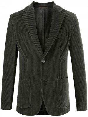 Вельветовый однобортный пиджак Seventy. Цвет: зеленый