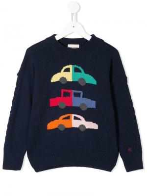 Car intarsia knit jumper Bobo Choses. Цвет: черный