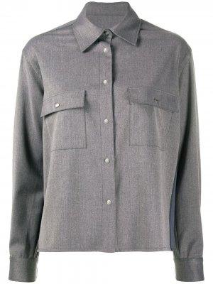 Рубашка на пуговицах с вырезами Koché. Цвет: серый