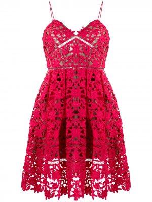 Платье Azalea с вышивкой Self-Portrait. Цвет: розовый