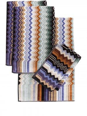 Комплект Giacomo из пяти полотенец Missoni Home. Цвет: синий