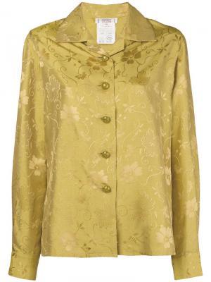 Жаккардовая рубашка 1980-х годов Yves Saint Laurent Pre-Owned. Цвет: желтый