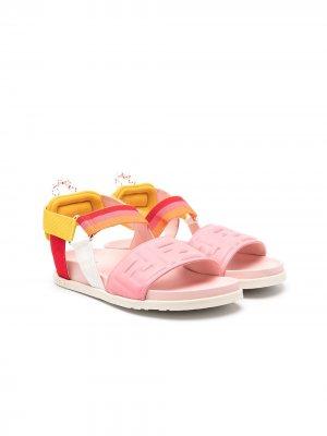 Сандалии с логотипом Fendi Kids. Цвет: розовый