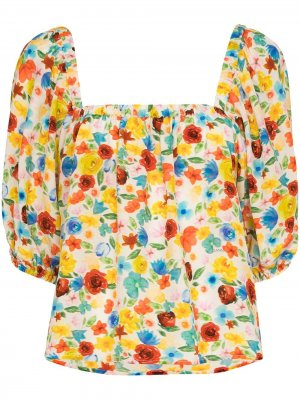 Пижамный топ с цветочным принтом GANNI. Цвет: белый