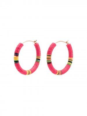 Серьги-кольца с бусинами ALLTHEMUST. Цвет: розовый