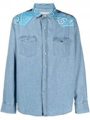Джинсовая рубашка со вставками Re-Worked. Цвет: синий