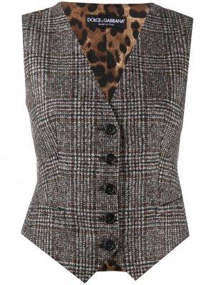 Однобортный жилет в клетку Dolce & Gabbana. Цвет: серый