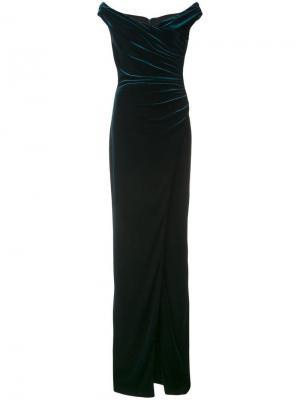 Платье с открытыми плечами Black Halo. Цвет: синий