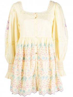 Платье Freja с вышивкой LoveShackFancy. Цвет: желтый