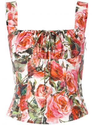 Топ-корсет с принтом роз Dolce & Gabbana. Цвет: красный