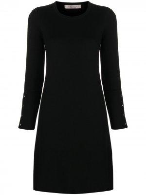Платье мини тонкой вязки D.Exterior. Цвет: черный